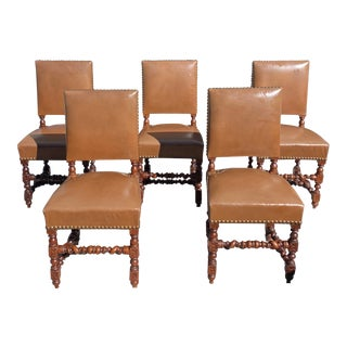 1900s Vintage Louis XIII Style Barley Twist Solid Walnut Dining Chairs - Set of 5 For Sale