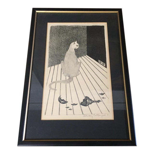 Mid-Century Cat Lithograph For Sale
