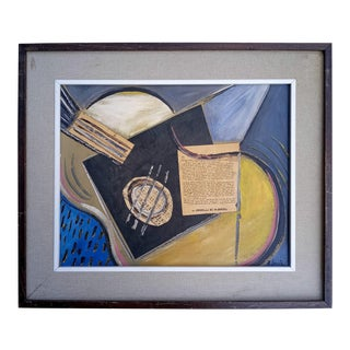 Late 20th Century Cubist Style Abstract Instrument Oil Painting, Framed For Sale