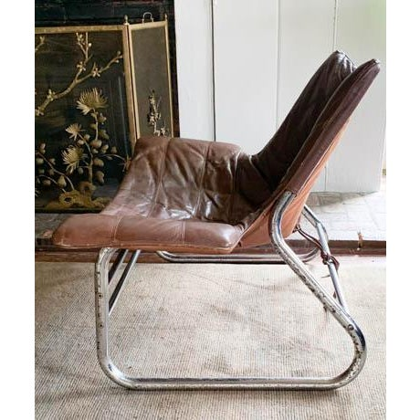 Mid Century Chrome and Leather Corset Tie Back Sling Chair For Sale - Image 4 of 13