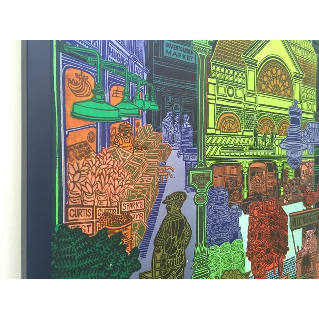 """1960s Rare Vintage 1965 John Griffiths """"Covent Garden: Rhubard and Roses"""" Framed Lithograph Print London Transport Poster For Sale - Image 5 of 13"""