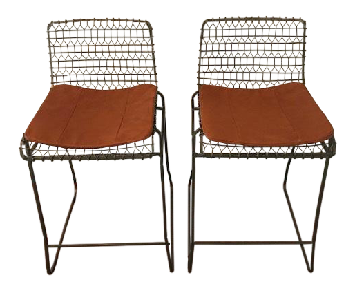 Crate And Barrel Tig Leather Cushion Metal Counter Stools   A Pair