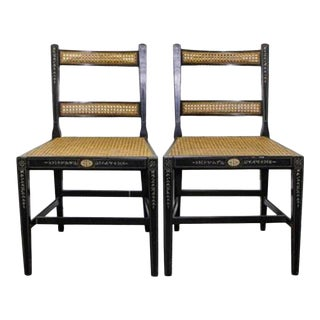 One Pair of English Regency Style Side Chairs With Painted Decoration