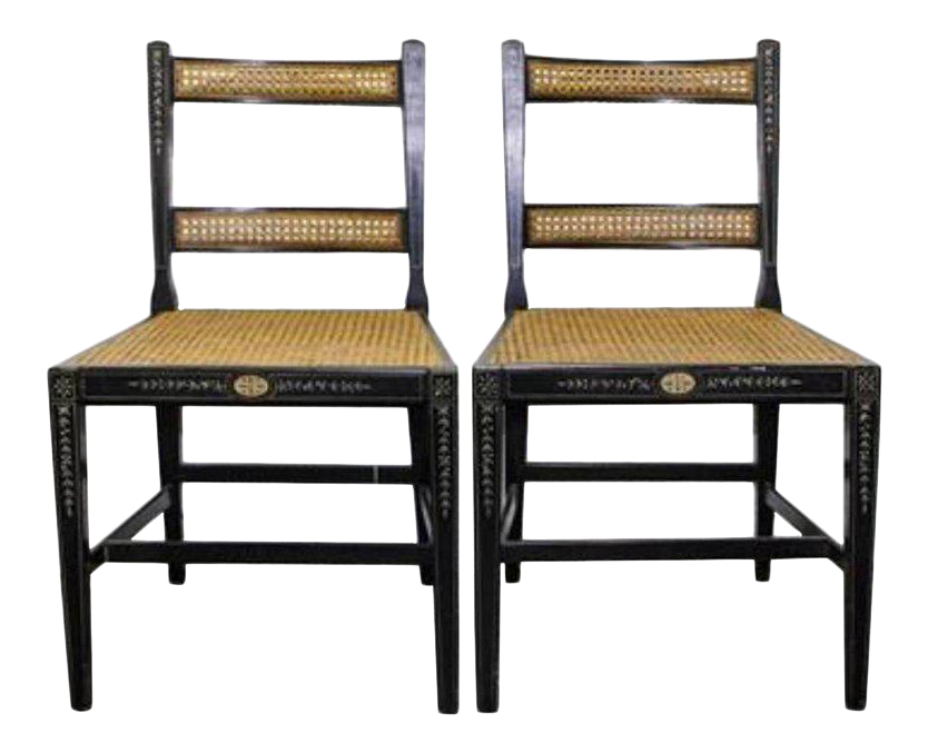 One Pair Of English Regency Style Side Chairs With Painted Decoration For  Sale