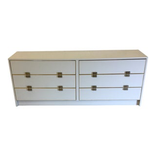 White Lacquer 6 Drawer Dresser With Greek Key Brass Pulls For Sale