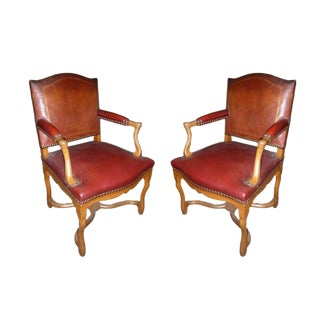 Pair of 20th Century Louis XIV Style Banque de France Red Leather Armchairs For Sale