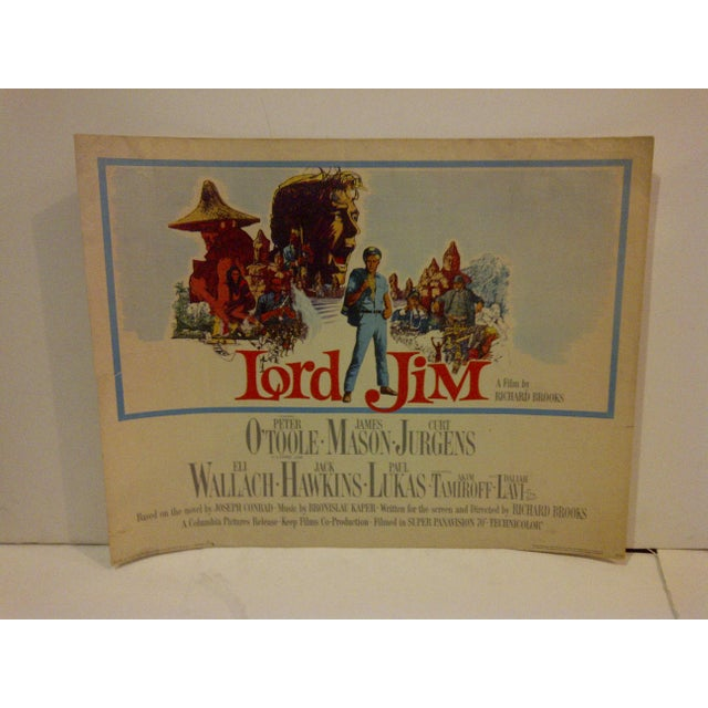 """A vintage movie poster for """"Lord Jim"""" starring Peter O'Toole. Numbered 65/33. Copyright 1964; Columbia Pictures. The..."""