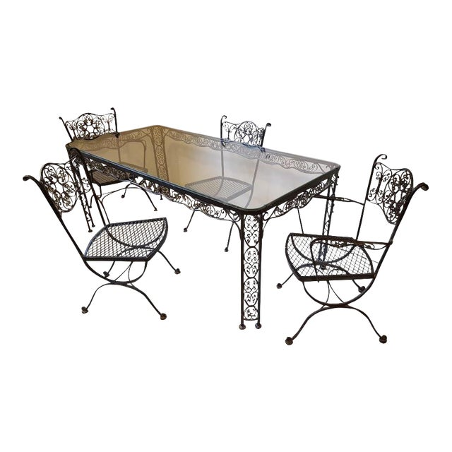 Lee L. Woodard & Sons Mid-Century Wrought Iron Dining Set- 5 Pieces For Sale