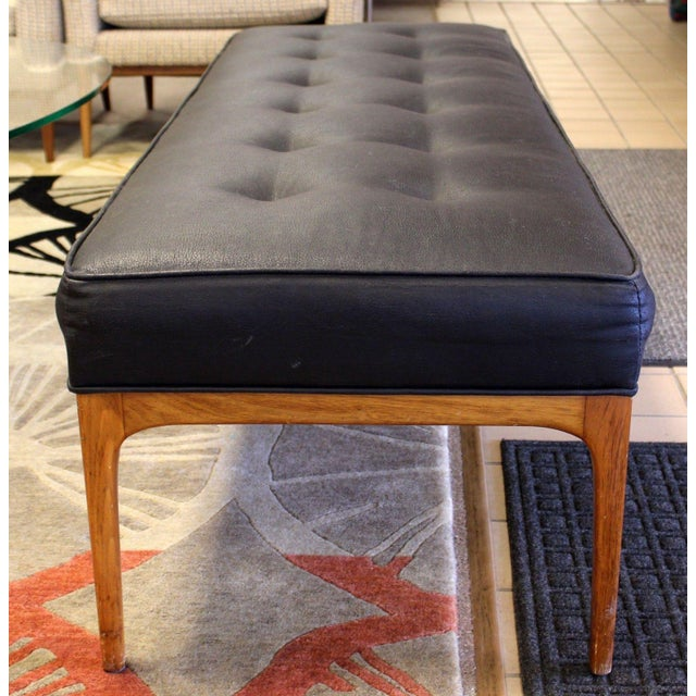 1970s Mid Century Modern 5 Feet Long Tufted Black Vinyl & Teak Wood Bench Seat For Sale - Image 5 of 7