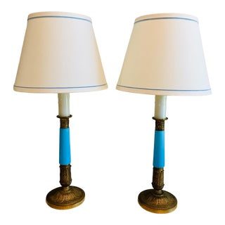 Vintage French Bronze and Blue Opaline Glass Candlestick Table Lamps - a Pair For Sale