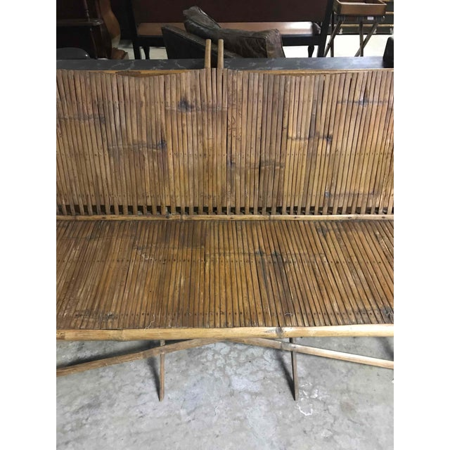 1920s Bamboo Slated Bench For Sale - Image 5 of 9