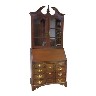 1970s Traditional Pennsylvania House Solid Cherry Two Piece Traditional Lighted Secretary For Sale