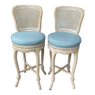 Late 20th Century Carved Wood Italian Knot Tassel Twist Cane Back Swivel Bar Stools - a Pair For Sale