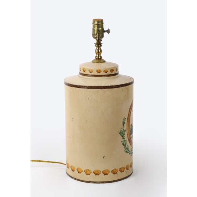 Late 20th Century Hand Painted Hotel Landscape Design Tea Caddy Lamp For Sale - Image 5 of 10
