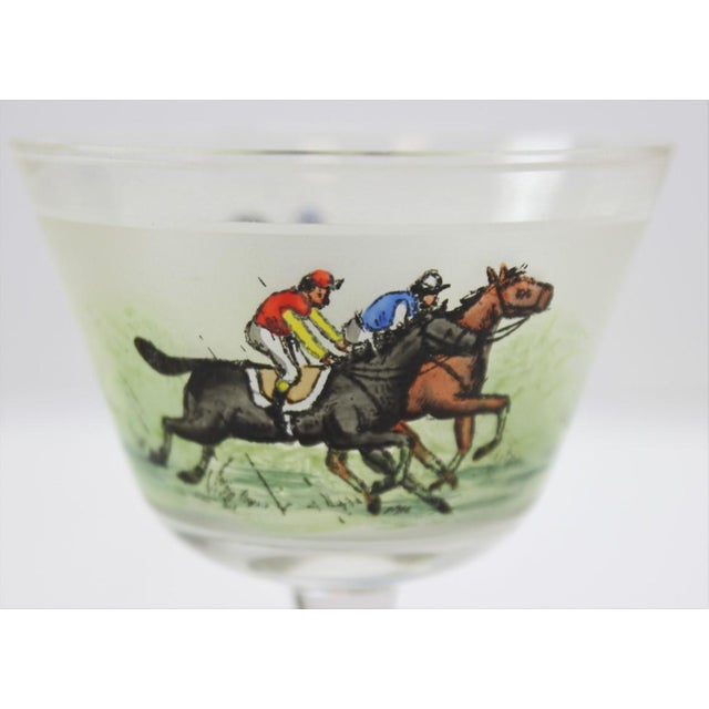 English Traditional Hand Painted Jockeys Cordial Glasses - Set of 4 For Sale - Image 3 of 5