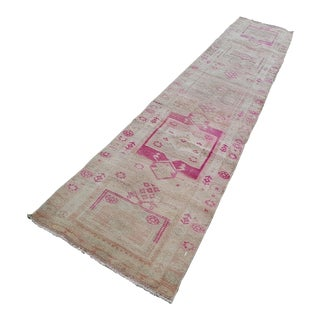 Spectacular! Runner Rug. Hand-Knotted Distressed Low Pile Faded Oushak Runner - 2′6″ × 13′5″ For Sale