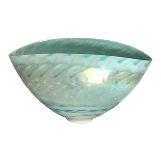 Large Gilt and Pearlized Finish Turquoise Oval Modern Glass Bowl For Sale