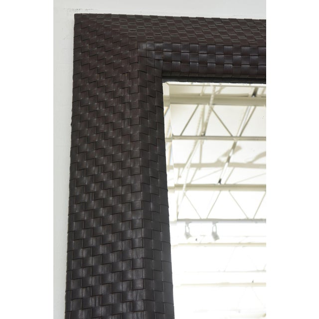 Italian Modern Woven Leather Mirror For Sale In Miami - Image 6 of 8