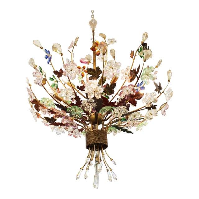 1970s Italian Mid-Century Modern Murano Glass Flower Bouquet Chandelier For Sale