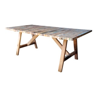 Salvaged Wood Balinese Trestle Table II