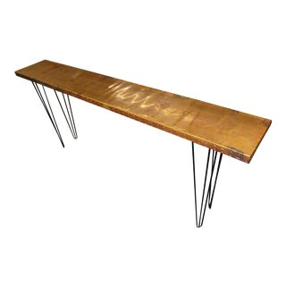 Mid-Century Modern Style Handmade Copper Clad Console Table For Sale