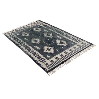Batik Dark Blue Cotton Rug - 4′ × 6′ For Sale