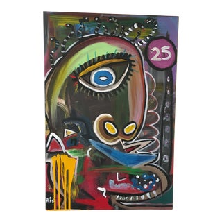 Picasso-Manner Cubist Face Portrait Painting For Sale