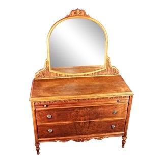 Antique Art Deco Veneered Dresser with Mirror For Sale