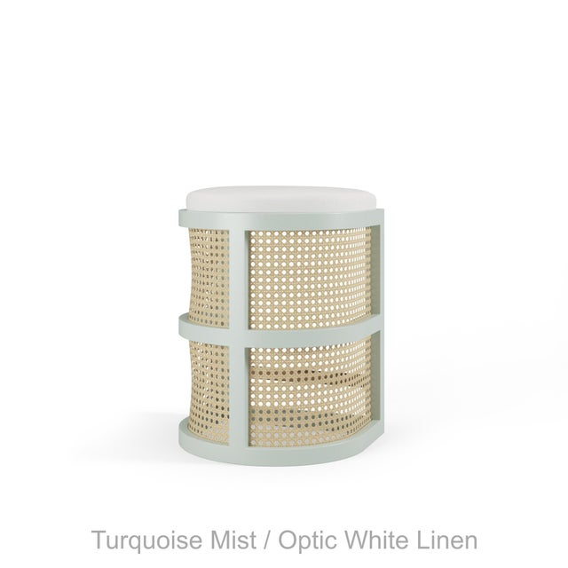 Not Yet Made - Made To Order Isabella Counter Stool - Turquoise Mist, Optic White Linen For Sale - Image 5 of 5