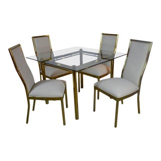 Vintage Brass and Glass Dining Set - Set of 5 For Sale