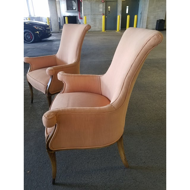 Brass 1940s Vintage Hollywood Regency Club Chairs - A Pair For Sale - Image 7 of 10