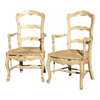 Vintage French Country Off White Ladderback Rush Arm Chairs Farmhouse Chic - a Pair For Sale