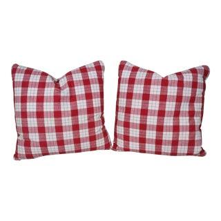French Antique Linen Homespun Pillows - a Pair For Sale