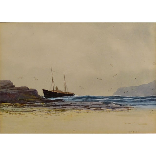 English Traditional Ethel Turner -Ship Near the English Coast -Watercolor Painting-C1920s For Sale - Image 3 of 9