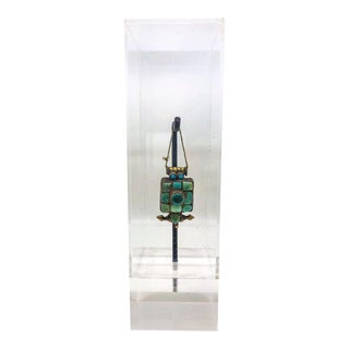 Turquoise Square Tibetan Gau in Lucite Display Case For Sale