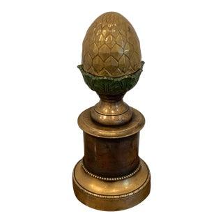 Regency Style Polychromed Acorn Motif Newel Post For Sale