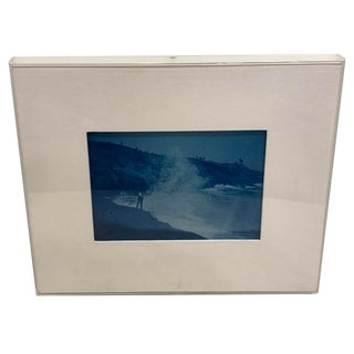 19th Century Cyanotype of a Figure and a Crashing Wave on Cape Cod For Sale