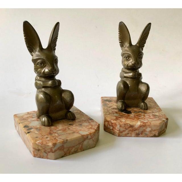 1920s Art Deco Hippolyte Moreau Rabbit Bookends - a Pair For Sale - Image 9 of 9