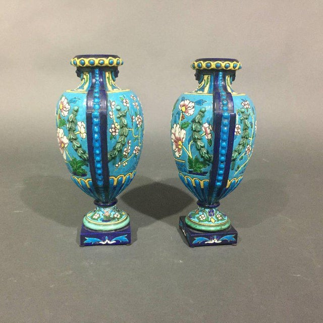 Art Deco Pair of Emaux de Longwy Attributed Floral Enameled Vases, France For Sale - Image 3 of 10
