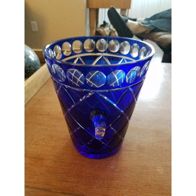 Cobalt Blue Bohemien Cut Crystal Ice Bucket - Image 3 of 5