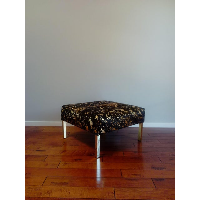 2020s Gambrell Renard Black and Gold Metallic Ottoman For Sale - Image 5 of 5