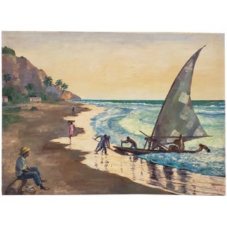Mid-Century Modern Caribbean Landscape Oil Painting C.1950s For Sale