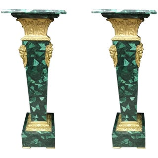 Pair of French Ormolu Mounted Malachite Pedestals For Sale