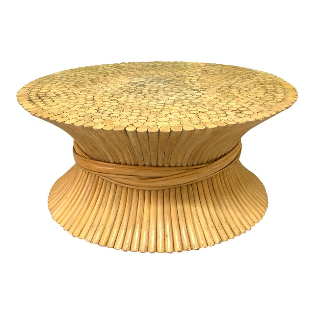 McGuire Sheaf of Wheat Rattan Coffee Table For Sale