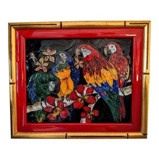 Meryn, Hand-Made Enamel Artwork, Framed Panel, Parrots and Red Orchids, Vintage For Sale