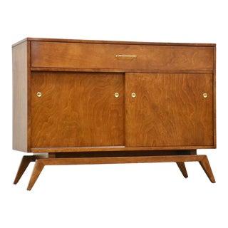 Birch & Brass Credenza Cabinet For Sale