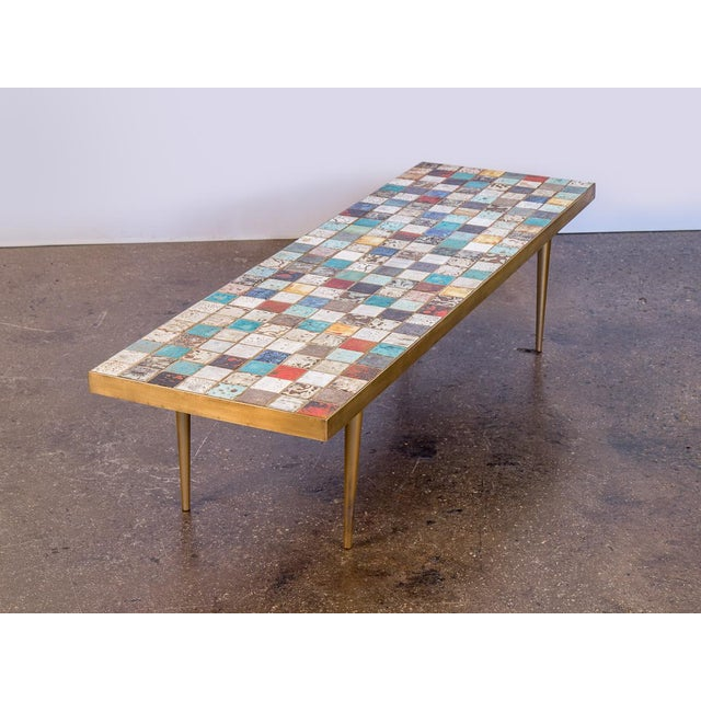 Boho Chic California Modern Tile-Top Brass Coffee Table For Sale - Image 3 of 10