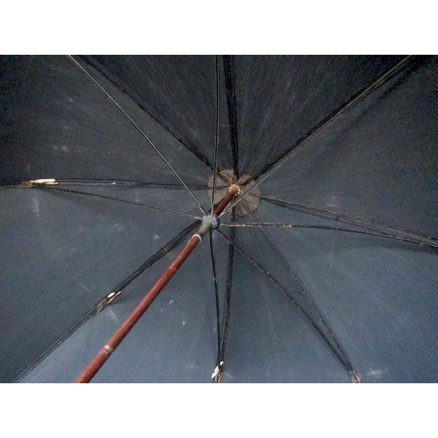 Antique Edwardian Mens Silk Parasol Black Umbrella - Image 6 of 6