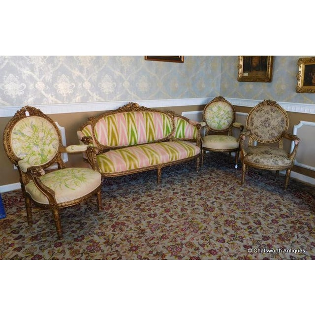 French Carved Giltwood Louis XVI Parlor Set - S/4 - Image 2 of 10