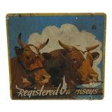 """Image of 1940 Vintage """"Registered Gernseys"""" Metal Sign For Sale"""